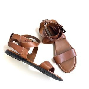 Franco sarto brown tan ankle wrap sandals sz 11.5